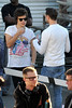 Harry Styles One Direction seen having lunch and exchange gifts outside the CBS Studios, before the taping of the 'X Factor' finale. Los Angeles, California- 20.12.12 JP
