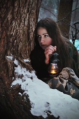 (Asya Abrikosova) Tags: trees winter lamp girl forest fire fear longhaired