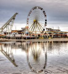 Ferris Wheel Reflection (scottnj) Tags: ocean water pier sand boardwalk ferriswheel rides wildwood amusements scottnj