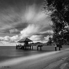 abandoned there (azam.alwi@maza) Tags: longexposure travel sky bw beach water island pangkor malaysia slowshutter indah malaysian jeti pulaupangkor pangkorisland