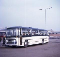 KDD277E (21c101) Tags: cheltenham plaxton coventry 1969 associated motorways coach station poolmeadow panorama kdd277e 277 1967 daimler roadliner blackandwhitemotorways blackandwhite src6