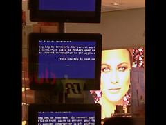 Blue Screen of Death - 34th St Window Display NYC 2004 (Whiskeygonebad) Tags: nyc 2004 window retail store display error manhattan bluescreenofdeath 34thstreet monitor sidewalk microsoft xp windowdisplay avon faulty 34st makup