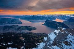 Welcome 2013 (Thierry Hennet) Tags: morning winter cloud alps nature zeiss sunrise landscape outdoors dawn switzerland suisse sony pilatus mountainrange vierwaldstaettersee a900 cz2470mmf28
