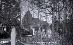 H00172 Hollington Church in the Wood, St. Leonards c.1905 (East Sussex Libraries Historical Photos) Tags: wood trees church grave graveyard architecture library steeple hastings gravestones edwardian 1905 broderick glassplatenegative churchinthewood hollington hollingtonchurchinthewood