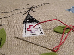 beginning ... (monaw2008) Tags: bird handmade fabric swap pouch patchwork applique handstitching flirts monaw2008