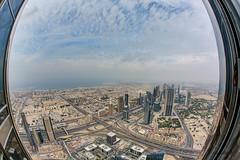 View from Burj Khalifa Observation deck (@Alebi) Tags: building tower colors canon dubai view cross dynamic details fisheye khalifa worlds effect hdr observationdeck tallest sheikhzayedroad atthetop canonef15mmf28fisheye canon5dmarkiii burjkhalifa