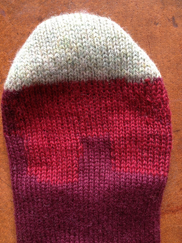 Swiss darning completed