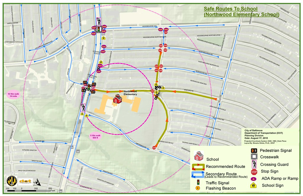 DOT, Safe Route to School (Lime Green Footprints Installation Project)