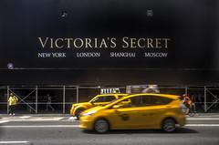 Victoria's Secret Cab (katarzyna_os) Tags: nyc newyork nikond7000 katarzynaos katarzynaostrowska hdr yellow cabs taxi victoriassecret 5thavenue