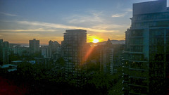 Sunset as seen from Ross and John's apartment (P_20160818_201805) ([Rossco]:[www.rgstrachan.com]) Tags: britishcolumbia canada city harbourcentre lookout night vancouver
