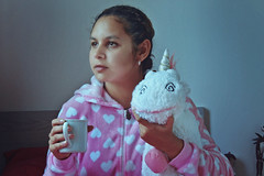 Phyna (TheJennire) Tags: photography fotografia foto photo canon camera camara colours colores cores light luz young tumblr indie teen despicableme girl movie cinema unicorn fluffy plushie people portrait self pastel coffee mug onesie pajamas pyjamas