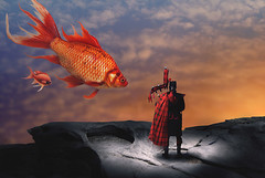 The Piper (cozmicberliner) Tags: fish gold man scottish bagpipes music rock fun beauty fantasy sky dream night clouds landscape fictional haze abstract fairytale cloudy imagination sorcery strange two mystery mysterious idyllic surreal evening friendship happy dreamy calm animal couple romantic tranquil relationship peaceful