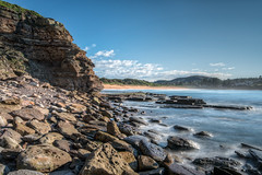 Cross the boundary (JustAddVignette) Tags: australia avalonbeach cliff clouds early landscapes longexposure newsouthwales ocean rockpool rocks sea seascape seawater sky sydney water waves