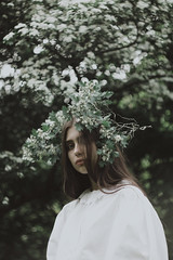 Lana (Alina Autumn) Tags: girl green girls light fragility tragic photographer vintage new nature natural tenderness love flowers flower melancholy color face mood model atmosphere summer harmony art outdoor forest hair