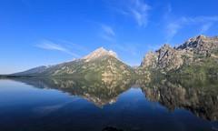 Reflection at Grand Teton National Park (Chuck Hood - PhotosbyMCH) Tags: photosbymch landscape reflection morning mountains bluesky lake nationalpark cirrusclouds tetonrange jennylake grandtetonnationalpark wyoming usa canon 5dmkiii 2015 outdoor water clouds