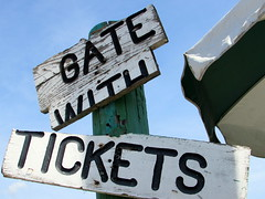 Gate With Tickets Sign. (dccradio) Tags: malone ny newyork upstateny northernny franklincounty franklincountyfair countyfair fair communityevent fun entertainment amusementsofamerica carnival midway biga aofa tickets coupons
