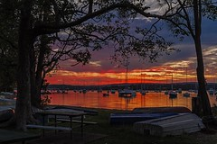 Framed & Busy (Sterling67) Tags: valentine sunset water lakemacquarie reflections boat yacht clouds