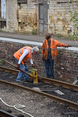 Tamping the Track (simmonsphotography) Tags: railway station maintenance volunteers preservation heritage train wansford