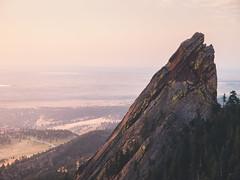 Flatiron 2 (self.defenestration) Tags: colorado landscape rock mountain pink gold sunrise goldenhour boulder calm tones fade