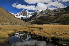 Reflet du Jirishanca (HimalAnda) Tags: pérou peru huayhuash cordillère cordillera reflet reflection rivière river montagne mountain paysage landscape nuages clouds ciel sky canoneos70d eos70d stéphanebon