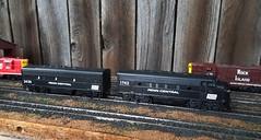 Penn Central F-Units (atjoe1972) Tags: ho scale model train penncentral pc rockisland ri crip railroad poolpower engine house switcher 187 caboose f7a f7b sw7 athearn bachmann custom paint atjoe1972 magicdonkey