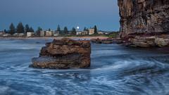 Mona Vale Moonset (RoosterMan64) Tags: australia landscape monavale nsw rockshelf seascape sunrise newport newsouthwales au leefilters longexposure