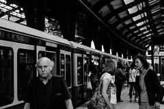 In S-bahn (Gianluca De Simone) Tags: s bahn berlin train treno station stazione street photography foto strada persone people older face volti black white grey bianco nero grigio germany germania berlino signore man