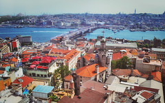 View towards Blu Mosque from the Galata Tower, Istanbul, Turkey (marozn) Tags: istanbul turkey panorama coast sunset tower hagia travel view mosque urban landmark nautical architectural panoramic minarets horizon skyline ship asia bosphorus tourist place galata roof bosporus vista famous architecture city buildings sophia tourism sea water bridge europe cityscape capital islam culture evening morning house street building journey center