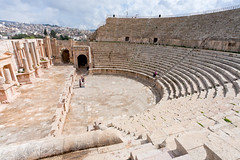 Large South Theatre - in antique town Jerash (chrisdingsdale) Tags: jerash gerasa theatre theater antiquity amphitheatre amphitheater jordan jordanian hellenistic roman greek style ruin antique ancient old architecture panorama arabic arab country outdoor view city town classical classic memorial historic historical area museum sightseeing landmark ancience greco archeology archaeology circus tourist seat stone stage people bedouin music large south arena