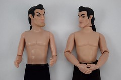 Deluxe vs Designer Gaston 12 Inch Dolls - Shirtless - Lying Down - Pose #3 - Hands Clasped (drj1828) Tags: us disneystore dfdc heroesandvillains disneyfairytaledesignercollection 2016 gaston purchase deboxed deluxedollgiftset beautyandthebeast comparison undressed outfits shirtless 12inch
