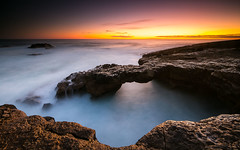 The bridge (marcolemos71) Tags: seascape sea water waves rocks sky sunset atlanticocean longexposure caboraso cascais portugal