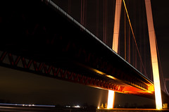 Bridge At Night (Mirk0Quarck) Tags: street longexposure bridge winter light sky cold architecture night 35mm river dark photography licht photo cool nikon exposure ship nacht nikkor dslr brcke rhein dunkel langzeitbelichtung emmerich d5100