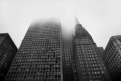 Plaza View (pantagrapher) Tags: bw chicago fog nikon downtown cityscape gbrearview skyscrapers loop center daley chicagoist d600