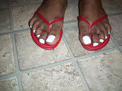 White nail polish and red flip flops (hyellow) Tags: red white sexy feet beautiful pose foot nice toes long pretty unique gorgeous polish nails flip flops