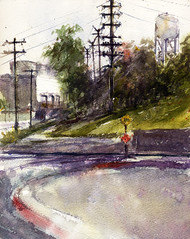 Power Plant (Sherry Schmidt) Tags: street art watercolor painting landscape industrial watertower electricity watercolour powerpoles