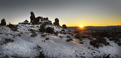 Turret Arch Sunset (tomkellyphoto) Tags: sunset sky usa sun snow utah ut moab redrock snowfall turrelarch
