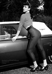 50's Style (Sebastian Köhler) Tags: hot sexy ford beautiful face car female hair blackwhite nice women butt curves heels rockabilly 50s rocknroll incredible thunderbird pinup schön ginacarla
