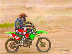 Kawasaki (Peter Solano. Pursuing a dream!) Tags: blue red black green bike silver outdoors sand ride cartoon motocross kawasaki