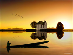 Shadows (Jean-Michel Priaux) Tags: sunset shadow sun france nature water photoshop landscape boat shadows lumire chapel ombre reflect alsace paysage reflexion pche ried priaux ebersheim mygearandme flickrsfinestimages1