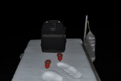 What Am I Doing (Lake Effect) Tags: red snow cold pier shoes iron photographer luggage utata ip 165 utata:project=ip165