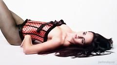 (Jan Hrub) Tags: black girl hair whitebackground corset fishnets