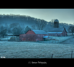 18/365 - Frosty Farm Life (J.L. Ramsaur Photography) Tags: winter sky cold nature fog barn rural fence landscape outdoors photography photo nikon frost tennessee foggy bluesky frosty pic oldbuildings silo faded photograph barbedwire thesouth 365 hay hdr oldbuilding redbarn tinroof haybales cumberlandplateau oldbarn ruralamerica beautifulsky photomatix putnamcounty cookevilletn bracketed skyabove project365 middletennessee vintagebuilding 2013 18365 ruraltennessee ruralview 365daysproject 365project retrobuilding 365photos ruralbuilding d5000 ibeauty southernlandscape hdraddicted vintagebarn ruralbarn southernphotography screamofthephotographer jlrphotography photographyforgod nikond5000 worldhdr engineerswithcameras god'sartwork nature'spaintbrush jlramsaurphotography 1yearofphotographs 365photographsinayear 1shotperdayfor1year