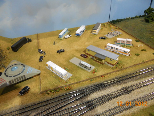 Railroad model train layout in HO-scale at Oklahoma City model train show 36th annual