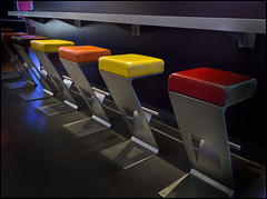 Choices (frischauge) Tags: blue red orange brown abstract color detail colors yellow bar silver germany restaurant chair colorful steel sony surreal cybershot minimal blinds stool zigzag abstrakt rx100 flickrchallengegroup flickrchallengewinner dscrx100 wwwfrischaugede wsrx100 wsobject