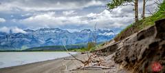 Swept by the wind (Jasper Lake) (Kasia Sokulska (KasiaBasic)) Tags: sky lake canada mountains clouds landscape nationalpark jasper alberta rockymountains jasperlake