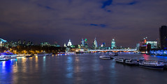 The View from Waterloo Bridge (shilbill) Tags: city longexposure bridge london water thames skyline night boats lights nikon stpauls waterloo slowshutter cityatnight oxo londoncity oxotower waterloobridge londonskyline ldn londonatnight londonthames lightroom4 nikond3100