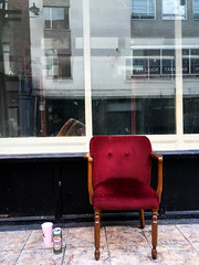 Unhappy Chair (mrdamcgowan) Tags: soho londonist london w1 unhappy chair abandonedchair becks emptychairs sadchair
