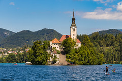 Bled Island Church (danjama) Tags: bled lakebled slovenia lake travel tourists landscape church canon6d clouds water trees forests