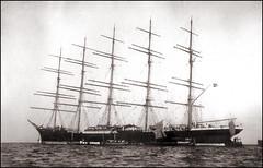 Five-masted Ship (ookami_dou) Tags: vintage japan  yokohama  preussen windjammer