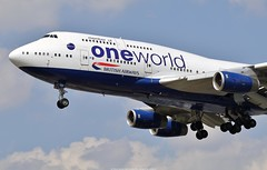British Airways Boeing 747-400 G-CIVD (Oneworld livery) (Planes Spotter And Aviation Photography By DoubleD) Tags: avions planes aircraft flying machine boeing 747 747400 jumbo landing british airways airlines oneworld special livery paint scheme gcivd londres london heathrow airport aeroport lhr egll